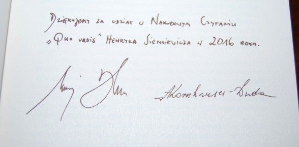 Narodowe Czytanie- Podziękowanie Prezydenta Rzeczypospolitej Polskiej